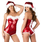 Adult Women′s Cosplay Party Costume Sexy Christmas Costume with Sequins