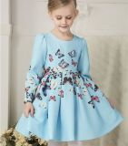 Girls Lovely Princess Butterfly Printed Dress/Girls Fashion Beautful Blue Dress in Winter and Autumn Kd2631