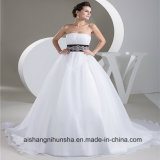 Organza Belt with Beaded Strapless Wedding Dress