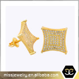 Kite Shape Mens Saudi 14K Gold Diamond Stud Earrings Mjce004