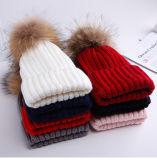 Decoration Fur Pompom Hat Beanie Fur Pompoms Knitted Hats