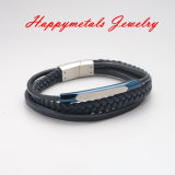 Fashion Blue Genuine Leather Stainless Steel Clasp Jewelry Bracelet