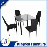 Cheap Glass Aluminium Black Dining Table and Chairs