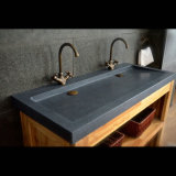 Dark Gray Granite Wall Mount Double Trough Sinks