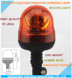 High Quality PC Lens Rubber Base Halogen Revolving Beacon Light, 12/24V Unbreakable and Durable Rotating Safety Lamps, DIN Model Revolving Beacon L