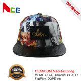 Flat Leather Brim Digital Printing Sublimation Printed Custom Snapback Hat for Wholesale
