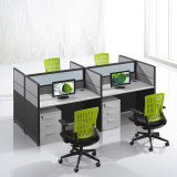 Wooden & Steel System Office Desk Furniture with Fabric Divider and Cabinet