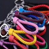 Leather Keychain Fashion Custom PU Braided Rope Leather Key Chain Wholesale