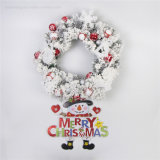 Hanging Door Decoration PVC Christmas Wreath with Foam White Snow