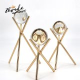 Home Decor Table Centerpieces Office Table Gift Items Clear Crystal Ball Metal Base Popular Items for Desktop Decoration