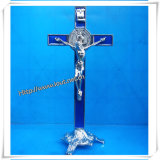 Height St. Benedict′s Stand Metal Crucifix / Standing Metal Crucifix /Decorative Catholic Metal Crucifix (IO-ca005)