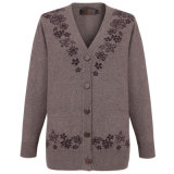Gn1739 Yak and Wool Blended Thick V Neck Cardigan for Women