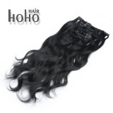 100% Human Hair Kinky Cury Black 20 Inch Clip in Hair Extension