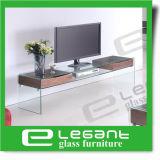 Glass LCD TV Stand with Walnut Wood Veneer Drawers