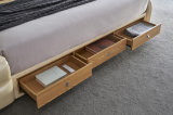 Modern Massage Solid Wooden Home Bedroom Sofa Double King Bed with Sound Strongbox Air Purifier