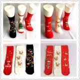 Sweet High Fashion Cute Christmas Santa Christmas Deer Christmas Tree Cotton Jacquard Lurex Gift Socks