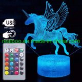 Unicorn with Wings 3D LED Night Light for Kids 7 Colors Change with Remote