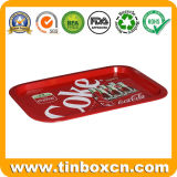 Food Grade Rectangular Serving Metal Tin Tray for Beer Beverage