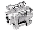 Stainless Steel 3-PC Spring Loaded Check Valve with Threaded End