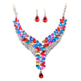Diamond Necklace Earrings Fashion Hollow Jewelry Set