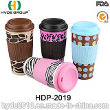 Assorted Design Double Wall Plastic Coffee Mug with Sleeve (HDP-2019)