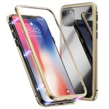 Factory Supply Shockproof Magnetic Adsorption Metal Phone Case for iPhone X/Xs Metal Phone Cover with Glass on Back