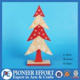 Wooden Mini-Tree for Christmas Decor in Red and Natural Color