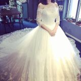 off Shoulder Full Sleeves Bridal Wedding Gown with Lace Pattern