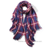 Fashion Women′s Woven Check Viscose Scarf /Stole / Shawl (HWBS09)