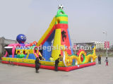 New Design Inflatable Fun City with Climbing Wall Amusement Park