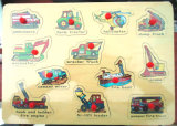 Educational Vehicle Pattern Wooden Peg Puzzles for Kids