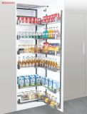 Foshan Manufacturer Kitchen Cabinet Storage Organizer Glass and Aluminium Pull out Basket Tall Unit Pantry Unit