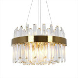 Villa Post Modern Luxury Gold Pendant Lamp with Clear Crystal Strip