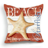 Decoration Square Beach Shell Design Decor Fabric Cushion W/Filling