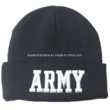 Factory Produce Logo Embroidered Black Winter Acrylic Cuff Hat