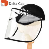2020 Wholesale Removable Face Protection Mask Protective Baseball Cap with Detachable Transparant Soft PVC Hat