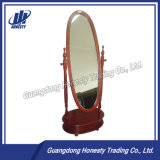 Ae033 Simple Oval Wooden Dressing Mirror with Drawer