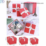 Custom Luxury Embossing Red Decorative Gift Box Wtih Ribbon Bowknot Wholesale