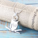 Fashion Anti Silver Owl Pendant Snake Chain Necklace