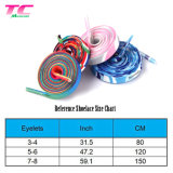 Morecredit 100cm Printed Rainbow Colorful Flat Polyester Cheap Shoelaces for Sports Shoes