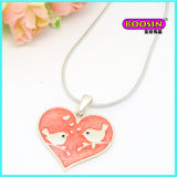 Fashion Silver Jewelry Enamel Heart Pendant Necklace
