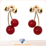 Hot Sale Fashion Jewelry 2015 New Fashion Lovely Red Cherry Earrings Rhinestone Leaf Bead Stud Earrings E6335