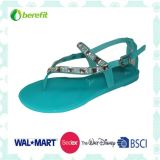 Beautiful Design, Delicate Decoration, Lady′s PVC Sandals