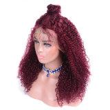 Wholesale Qingdao Vendor 99j Kinky Curly Brazilian Human Hair Lace Front Wig