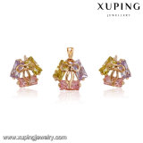62654 Hot Sale 18k Gold Plated Colorful Tie Design Jewelry Set