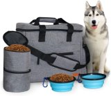 Dog Travel Bag with 2 Silicone Collapsible Bowls and 2 Food Containers, Multi-Function Pockets for Pet Accessories