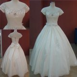 Wholesale Short Sleeves Beading Ball Gown Bridal Dress Cheap