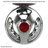 CNC Machine Cut Aluminum Multi Nano Carbon Discs Saltwater Proof Large Arbor Fly Reel 02A-CNC-Nvis-Uy