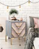Fine Furniture Design Two-Drawers Herringbone Pattern on Drawers Nightstand