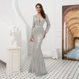 Luxury Sexy Elegant Mermaid Slim-Fit V Neck Long Sleeve with Full Beading and Sequin Sweep Train Evening Dress Banquet Dress Party Dress Celebrity Dress Stage